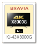 4K BRAVIA,X8000G,KJ-43X8000G